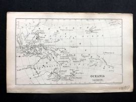 Cornwell & Dower 1849 Antique Map. Oceania. Pacific Australia, Hawaii